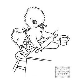 embroidery pattern - duckling making a pie
