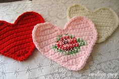 Crochet heart with added cross stitching made by Vintage Grey. Pattern for the heart by Bella Dia here - thanks so! xox http://belladia.typepad.com/bella_dia/2008/02/sweet-heart-cro.html