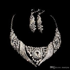 Top Selling Crystals Bridal Wedding Party Jewelry Cheap New Pretty Earring And Necklace Evening Prom Girls Jewel Accessories ST006 Online with $20.95/Piece on Marrysa's Store | DHgate.com