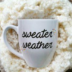 Sweater Weather Mug Fall Mug Psl Pumpkin Mug Funny Coffee Mug Pumpkin... ($17) ❤ liked on Polyvore featuring home, kitchen & dining, drinkware, drink & barware, grey, home & living, mugs, pumpkin mug, bistro mug and bistro coffee mugs