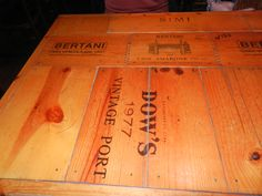 Vintage Wine Crate Table. Love the Dovetails!