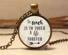 TEACHER APPRECIATION CHARM,  Gift for Teacher, Daycare provider, Teacher charm necklace, To Teach is to touch a life forever