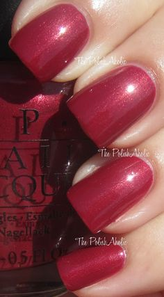 OPI Berry Berry Broadway is a medium red with a golden shimmer. #nail polish / lacquer, swatch / manicure. The PolishAholic: Saturday Spam: OPI (Part 1)