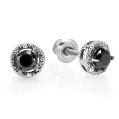 060 Carat ctw Sterling Silver Ladies Round Black and White Diamond Stud Earrings * Learn more by visiting the image link.