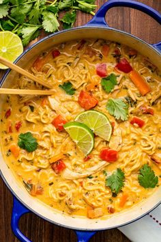Ramen Chicken Noodle Soup: coconut oil, onion, red bell pepper, carrot, garlic, curry powder, coconut milk, chicken broth, chicken, cilantro, ramen noodles, lime wedges