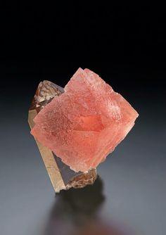 Fluorite on Quartz - Mont Blanc, Haute Savoie, France Size: 3.0 x 3.0 cm