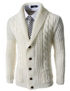 TheLees Slim Fit Shawl Collar 5 Button Knitted Cardigan