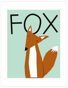 Sweet fox baby art 8 x 10 inch print in 11 x 14 inch by LizzyClara