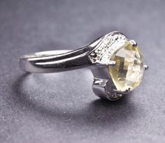 lemon quartz sterling silver ring yellow rose cut by JubileJewel, $60.00