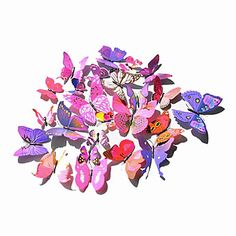 Popular PVC Three-Dimensional Simulation Butterfly Wall Stickers Wall Art Decals(Assorted Colours)(12 Pcs) – USD $ 7.99