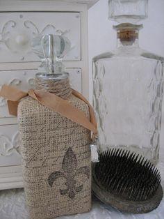 Fleur de Lis. burlap covered bottle