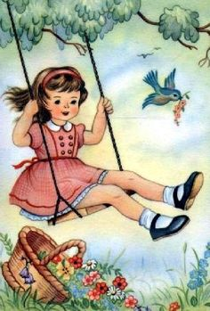 Vintage girl on a swing postcard Images Vintage, Vintage Pictures, Vintage Greeting Cards, Vintage Postcards, Vintage Children's Books, Vintage Valentines, Fabric Painting, Easy Drawings, Retro