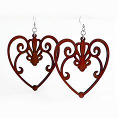 Scroll Heart Earrings (Wine) #inkedshop #earrings #winered #hearts