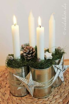 Creating a Rustic Winter Christmas Centerpiece can be easier than you think. Come see these creative ideas for creating your own Rustic Winter Centerpiece! Advent Candles, Christmas Candles, Christmas Centerpieces, Rustic Christmas, Xmas Decorations, Winter Christmas, All Things Christmas, Christmas Home, Recycled Christmas Decorations