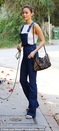 All denim! Jamie Chung looks super stylish as she took her dog for a walk in Beverly Hills...