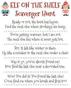 Free Printable Elf on the Shelf Scavenger Hunt for Christmas