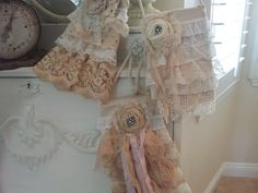 Junk Fairy vintage style ruffles and lace purses
