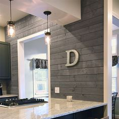 UFP-Edge 1 in. x 4 ft. Barn Wood Charcoal (Grey) Shiplap Pine Board Grey barnwood shiplap board used as an accent wall in the kitchen Home Renovation, Home Remodeling, Kitchen Remodeling, Basement Renovations, Gray Shiplap, White Shiplap Wall, White Wood Walls, Barn Wood Walls, Wood Wall Paneling