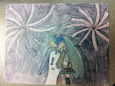 My drawing of Hatsune Miku and Kaito hugging. ^_^