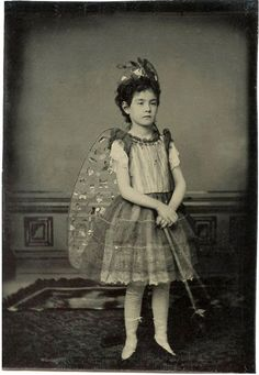 Girl dressed as a Fairy - Ambrotype Portrait taken in the mid 1800s