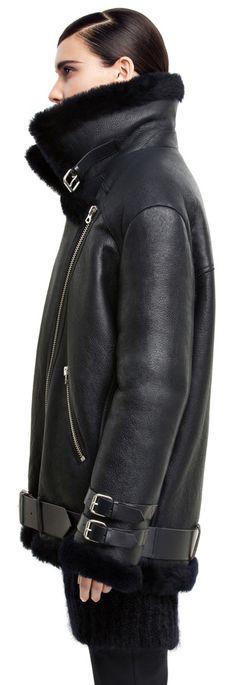 Acne Studios - Velocite navy shearling jacket
