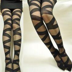 İnce ve Koton Karışımı Siyah Çarpraz Bayan Külotlu Çorap