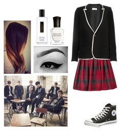 """Boy In Love"" by moniqueforeverz ❤ liked on Polyvore featuring Olympia Le-Tan, Converse, Yves Saint Laurent, Victoria's Secret, Deborah Lippmann, Boy and bts"