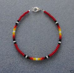 Beaded Jewelry Red-Sunburst-Beaded-Bracelet-Native-American-Made-All-Sizes-Free-Shipping - Seed Bead Bracelets, Ankle Bracelets, Silver Bracelets, Jewelry Bracelets, Jewlery, Seed Beads, Beaded Anklets, Beaded Choker, Native American Jewelry