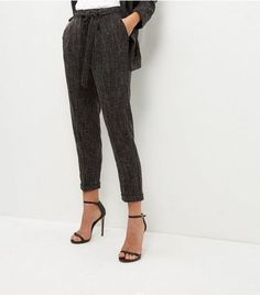 Dark Grey Belted Trousers | New Look