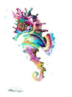 Sweet bright watercolor seahorse tattoo design