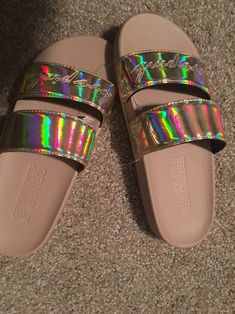 Holographic iridescent logo double strap sport slides sandals. NWT. These are sold out at PINK & HTF. Size small - 5/6. Shiny gold. Pink Sandals, Slide Sandals, Women's Shoes Sandals, Heels, Vs Pink, Holographic, Iridescent, Logo, Sports
