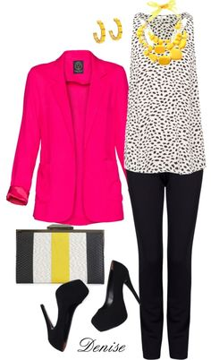 """Hot pink Blazer"" by deniselanders on Polyvore"