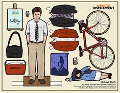 Kyle Hilton - Arrested Development paper dolls: Michael Bluth (can't wait for the movie! Gus Fring, Andy Dwyer, Jesse Pinkman, Leslie Knope, Ron Swanson, Paper Toys, Paper Crafts, Diy Paper, Paper Art