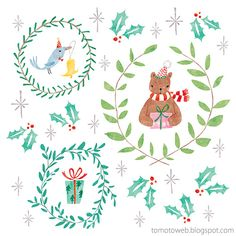 tomoto: Christmas Wreaths : Bear and Bird
