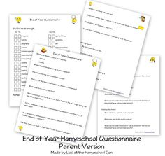 End of Year Homeschool Questionnaire (Parent Reflection Questions) - Homeschool Den Kids Activities At Home, End Of Year Activities, Fun Summer Activities, Homeschool Curriculum, Homeschooling Resources, Summer Camp Themes, Reflection Questions, Magic School Bus, New School Year