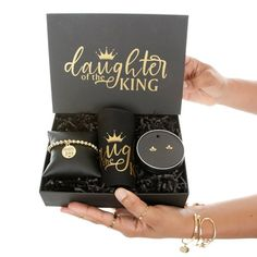 Christian Inspired Gift Set for Her Daughter of the King | Religious Bible Verse Gifts for Women | Crown Gold Dainty Studs | Charm Bracelet ★★★DETAILS ★★★ Gift Set Includes: Black Makeup/Toiletries Bag: • Cotton Canvas Makeup/Jewelry Bag with Gold Lettering - 7 3/4 x 4 1/2 with Gold Zipper Gift Sets For Her, Gifts For Her, Black Makeup, Daughters Of The King, Toiletry Bag, Mixed Metal Jewelry, Grad Gifts, Christian Jewelry, Copper And Brass