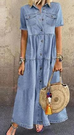 Modest Fashion, Women's Fashion Dresses, Plus Size Homecoming Dresses, Casual Summer Dresses, Casual Outfits, Casual Shirt, Look Boho Chic, Elisa Cavaletti, Dress With Sneakers