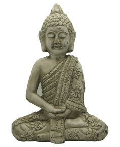 Garden Buddha statue with flower-patterned robe. Brought to you by Buddha Groove.