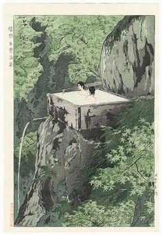 Shirahone Hotspring, Shinshu, 1935 by Kasamatsu Shiro (1898 - 1991); Japanese woodblock print...................... ukiyoe japan decoration antique fineart home decor collectible japanese woodblock print handmade home art beautiful decorative etching illustration traditional woodcut