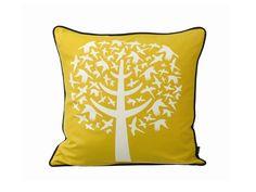 Ferm Living Bird Leaves Cushion Yellow