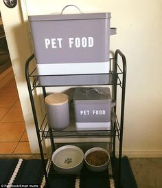 Others are even more creative, such as one mum who came up with this dog feeding station complete with dog bowl on the bottom floor and food on the top (pictured)