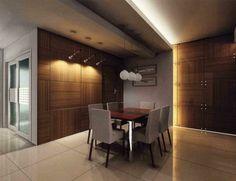 comedor moderno con techo de cemento