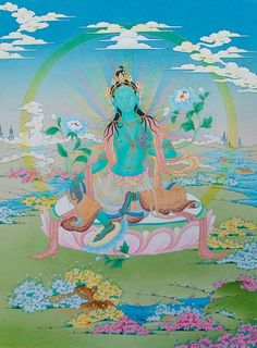 A precious, modern rendering of Green Tara in all her beauty. 46 x 61 cm. Sold out at Images of Enlightenment gallery in Boudhanath, Nepal. Identical thangka can be custom ordered; Tara Goddess, Tantra Art, Golden Buddha, Buddhist Traditions, Esoteric Art, Green Tara, Tibetan Art, Medicine Wheel, Classic Paintings
