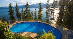Pool at Halycon Hot Springs overlooking Upper Arrow - BC Canada