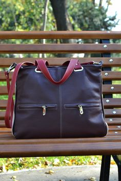 LARGE LEATHER HANDBAG Leather Purse Leather Shoulder by CORYSBAGS
