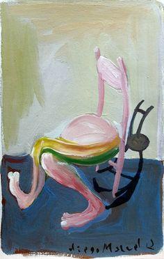 """"""" silla rosa"""", acrílico sobre papel, 23 x 16 cm. , 2001, pinturas de Diego Manuel"""