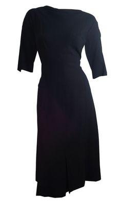 Smartly Seamed Black Crepe Rayon Dress w/ Paneled Skirt circa 1960s - Dorothea's Closet Vintage