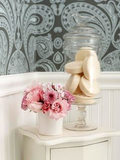 Pretty Accents - Storage needs are often minimal in a powder room. Incorporating a small cabinet provides a place to tuck away extra rolls of toilet paper and hand towels. Plus, theres place on top to display decorative accents. Decorating Tips, Interior Decorating, Interior Design, Room Accessories, Bathroom Accesories, Small Bathroom, Bathroom Storage, Bathroom Ideas, Bathroom Makeovers