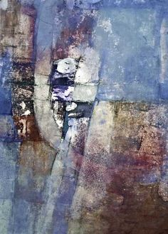 Sharon Blair: Hiding Places    www.sharonblair.com.au     - Art For Inspired Interiors           -  Mixed Media Artwork: Blue Abstract