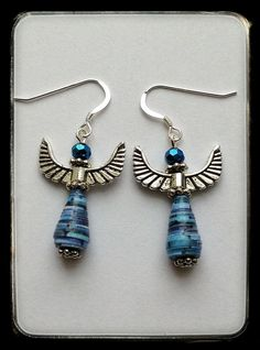 Buy Blue Recycled Paper Bead Angel Earrings - Try Handmade Gallery - Free Handmade Advertising